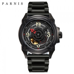 Parnis 44mm Skeleton Men Watch 2018 Luxury Brand Mechanical Watches Japan Mechanic Military Pilot Watch Rose Gold Black Silver