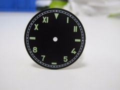 37.5mm Watch Plate Mens Mechanical Watch Dial Green/Yellow Numbers fit Unites ETA 6497 Movement
