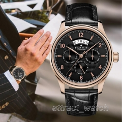43mm Parnis Day Month Sapphire 24 Jewels Miyota Automatic Men's Mechanical Watch